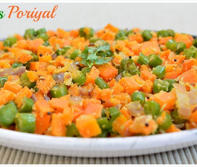 Carrot Beans Poriyal | Carrot Beans Stir Fry