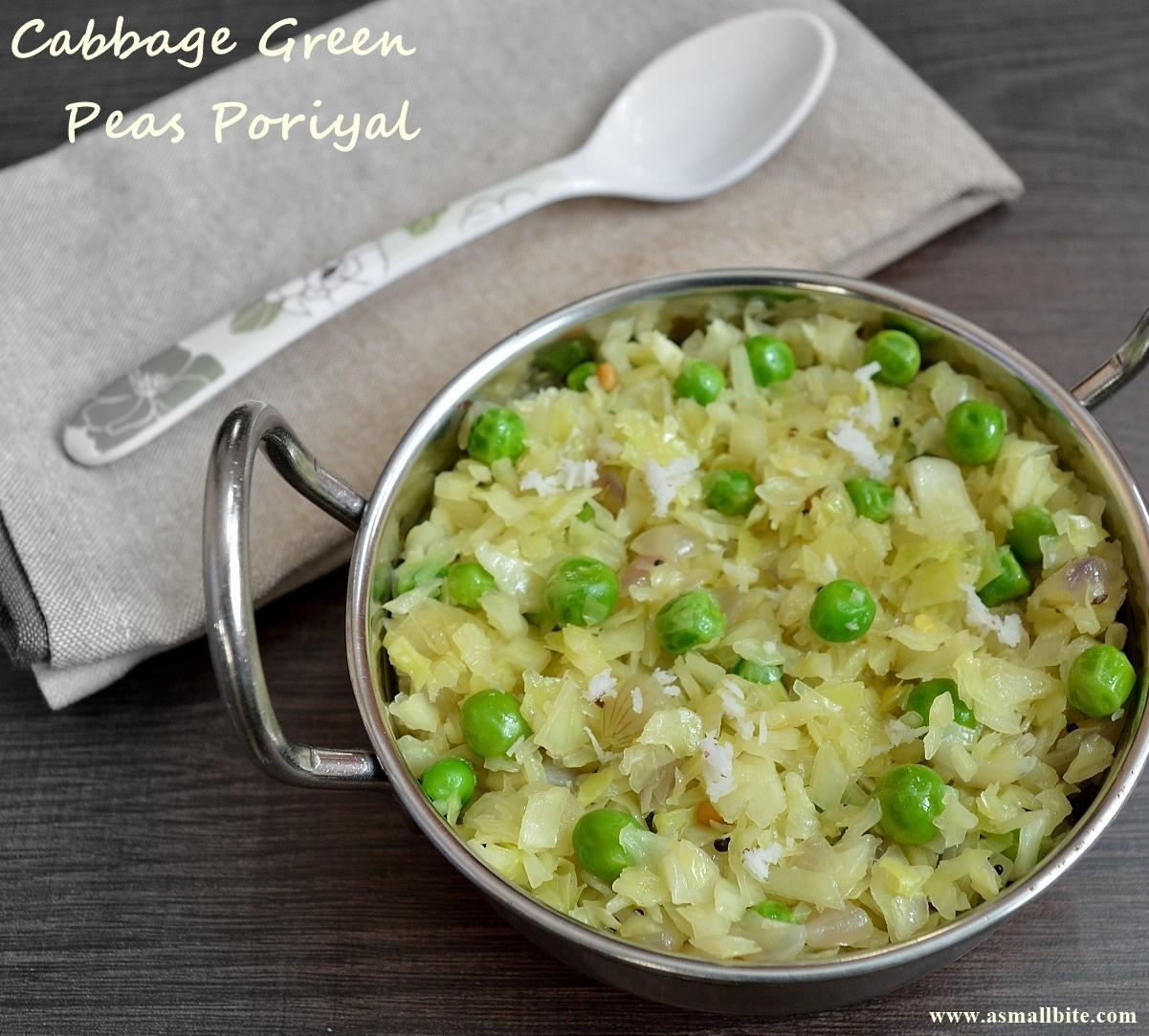 Cabbage Green Peas Poriyal | Cabbage Peas Stir Fry