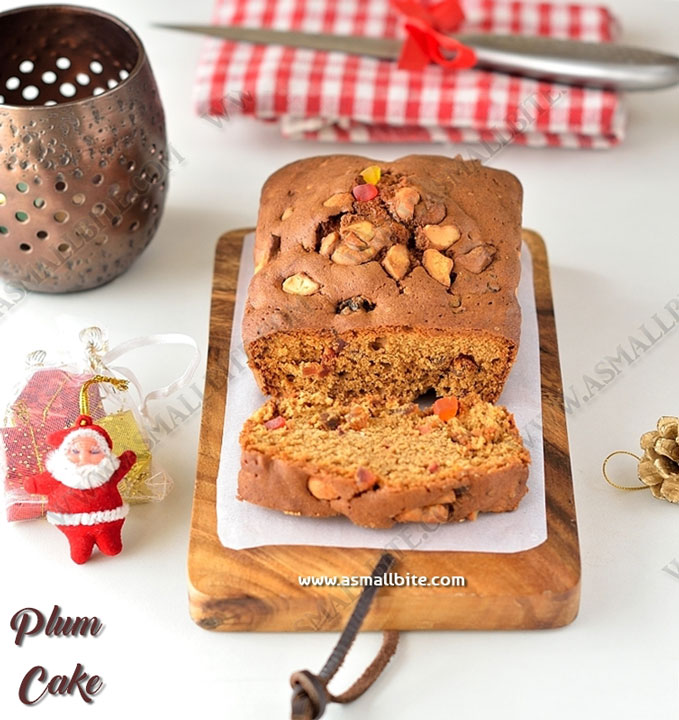 Eggless Christmas Fruit Cake Recipe | Plum Cake