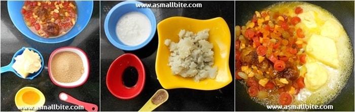 Eggless Christmas Fruit Cake Recipe Steps1