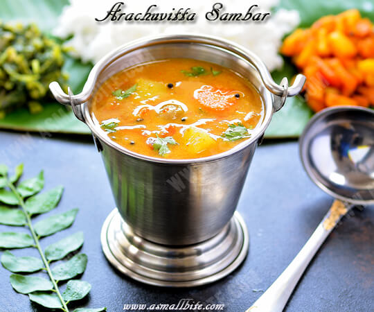 Arachu Vitta Sambar Recipe
