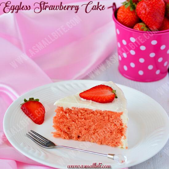Eggless Strawberry Cake Recipe