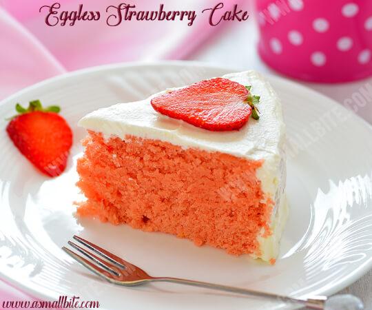 Eggless Strawberry Cake Recipe 2