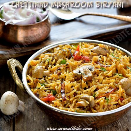 Chettinad Mushroom Biryani Recipe 1