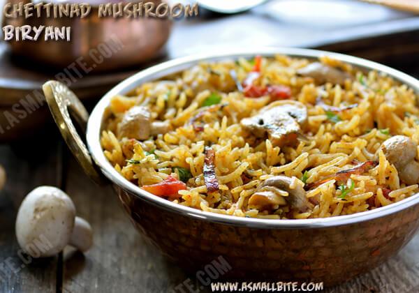Chettinad Mushroom Biryani Recipe
