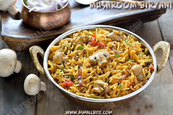 Mushroom Biryani Recipe 1