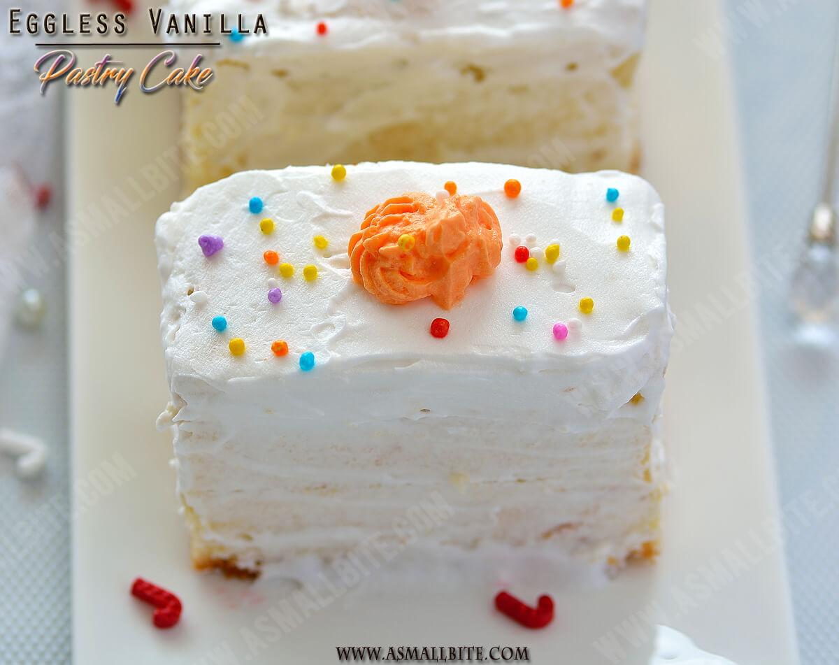 Eggless Vanilla Pastry Cake Recipe 1