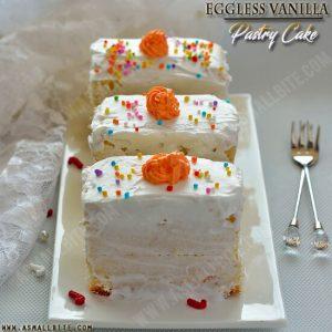 Eggless Vanilla Pastry Cake Recipe