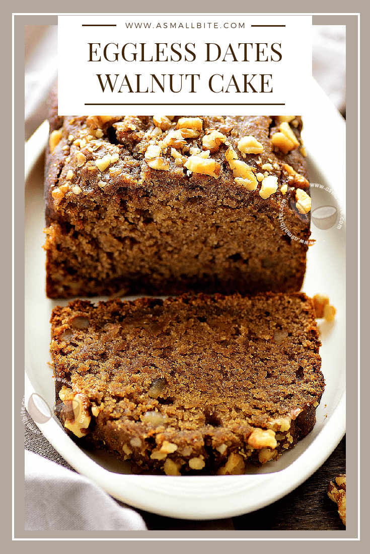Eggless Date Walnut Cake Recipe