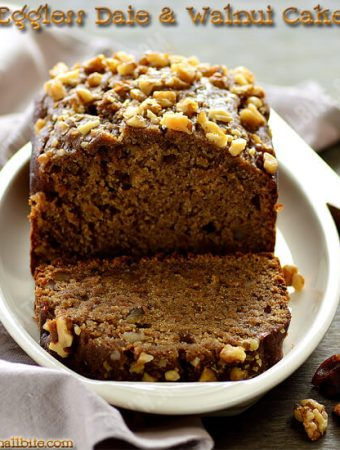 Eggless Dates Walnut Cake Recipe