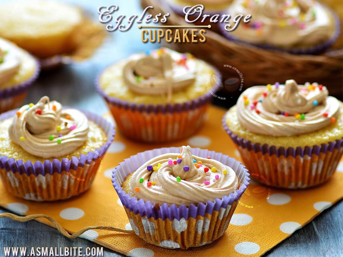 Eggless Orange Cupcakes Recipe