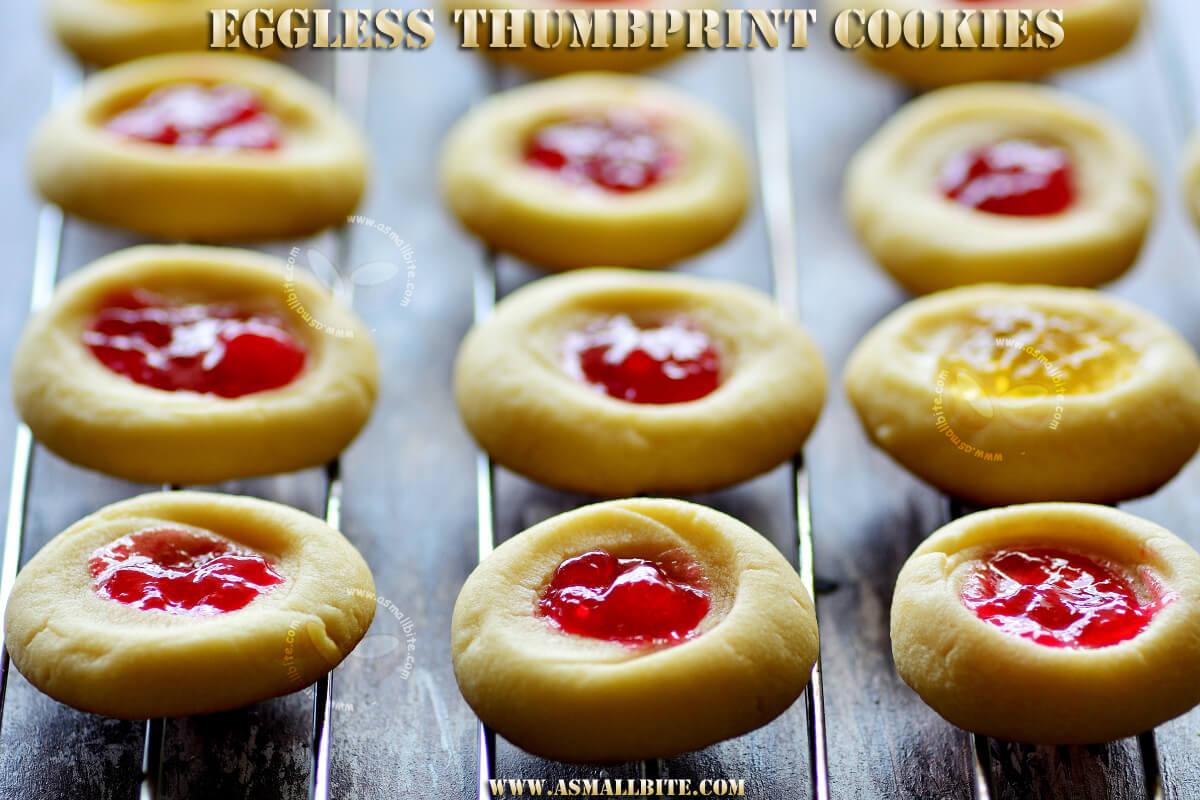 Eggless Thumbprint Cookies Recipe