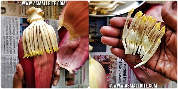How to clean Banana Flower Steps1