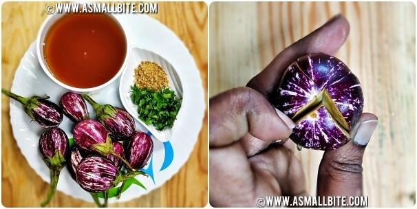 Stuffed Brinjal Curry Recipe Steps1