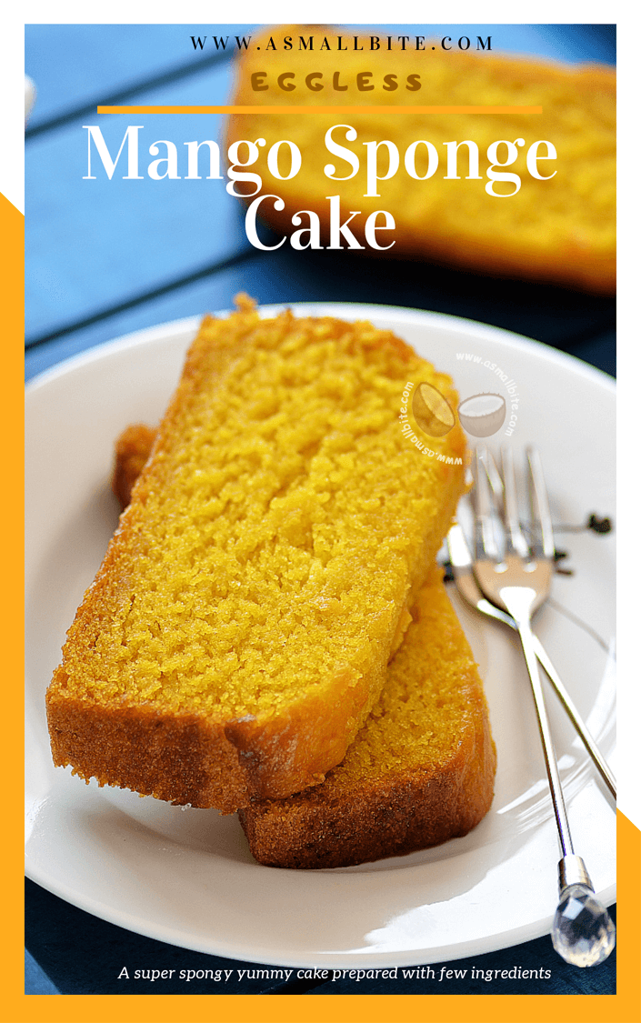 Eggless Mango Sponge Cake