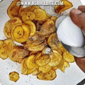 raw banana chips in oven