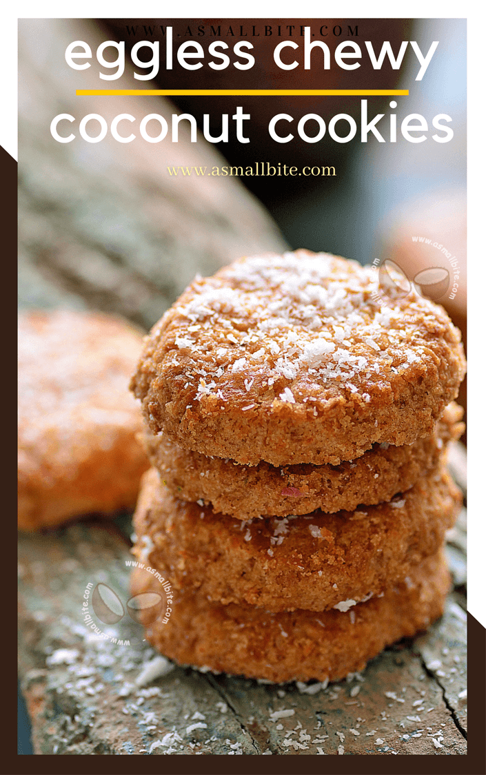 Eggless Chewy Coconut Cookies