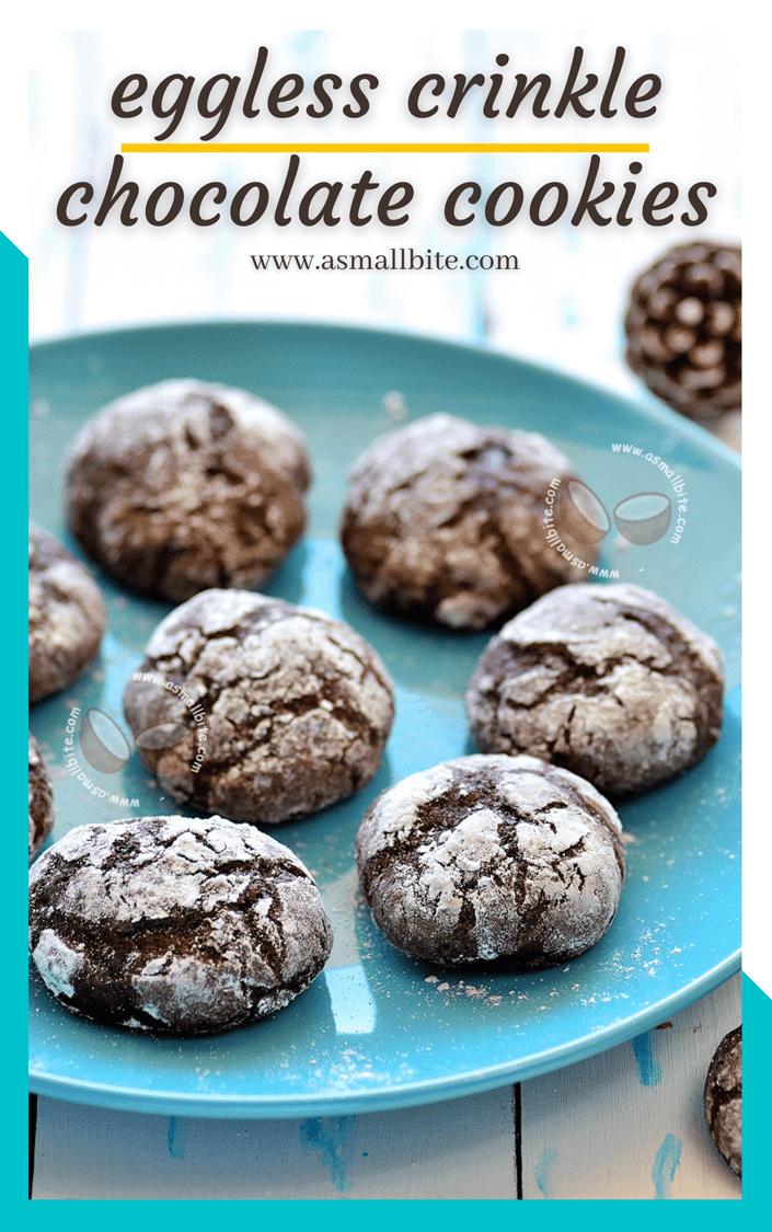 Eggless Crinkle Chocolate Cookies